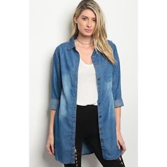 Long Sleeve Cotton Blend Tunic Top or Mini Dress New S M L Button Denim Wash